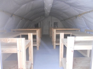 Inside the girls' tent for Alpha and Bravo